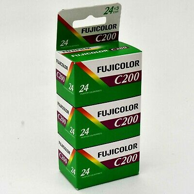 New Fujicolor C200 35mm 24 Exp Triple Pack ~ Dated 07/18. Tested. Works Perfect.