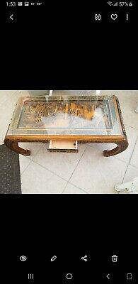 Coffee Table Antique Oriental Asian Hand Carved Hardwood Glass Top
