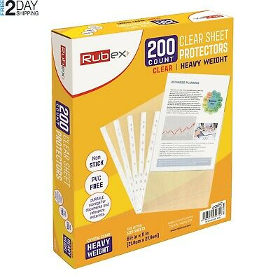 200 RUBEX Clear Heavyweight Sheet Protectors, Holds 8.5 x 11 inch Sheets