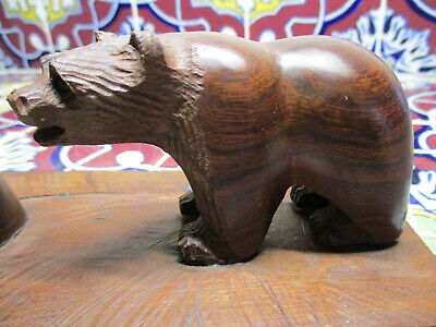 Vintage Hand Carved Wood Bear With Owl On Tree Ironwood Scene