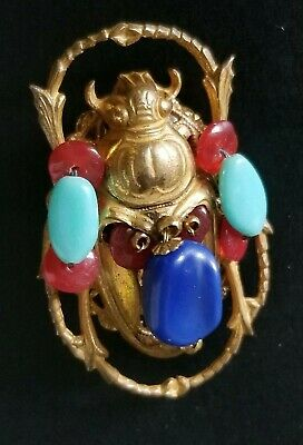 Rare Miriam Haskell Scarab Beetle Brooch Pin Egyptian Revival Signed 1 3/4""