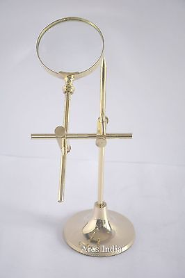 Traditional Style Brass Fully Adjustable Technical 5x Magnifying Glass Magnifier