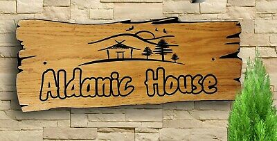 Personalised Oak Carved  Wooden Name Sign House Address  Plaque Outdoor