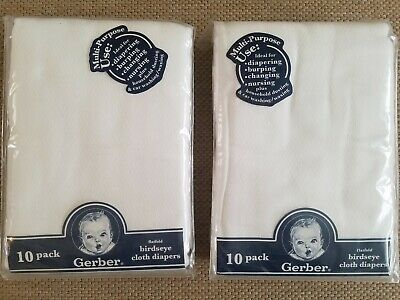 Lot of 2 Packages of Gerbert Flatfold Birdseye Cloth Diapers, 10 Per Pkg, New