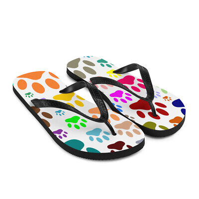 Dog Paw Print Pattern Flip-Flops - Colorful Sandals Small To Large