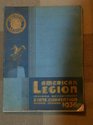 1936 History of American Legion State 18th Annual Convention Muncie Indiana Book