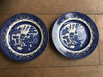 Pair Of Churchill England Plate Willow Pattern