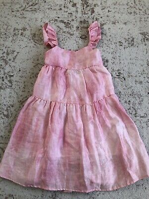 New Zara Kids Girls  Pink White Tie Dye Flutter Sleeve Dress 13-14Y
