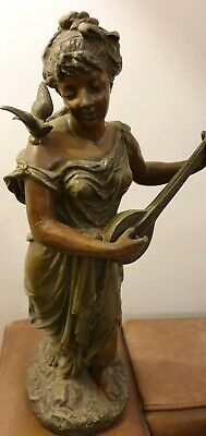 ANTIQUE 19thC ART NOUVEAU SCULPTURE BRONZED SPELTER FIGURE
