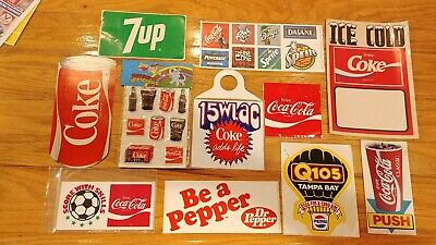 Vintage Coca Cola Sticker/Decal Lot of 11 Dr. Pepper 7 Up Sprite Coke FREE SHIP