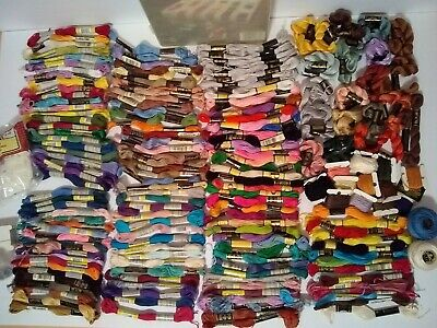 Embroidery Floss Large Lot 175 Mixed Colors & Brands, Some Perle, With Organizer
