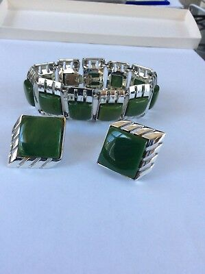 ART DECO BAKELITE Chrome Plated In Line Bracelet & Clip Earrings -Marbled Green