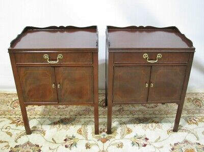 Georgian PAIR High-End Baker Furniture Mahogany Commodes/Nightstands; Mint