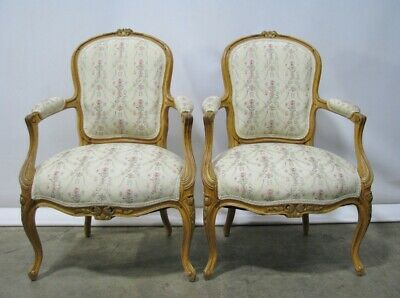 Pair Vintage French Provincial Louis XV Open Armchairs, Gilt Accents Exceptional