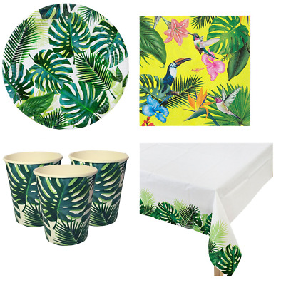 Tropical Fiesta Summer Beach BBQ Palm Tree Tableware Table Decorations For 16