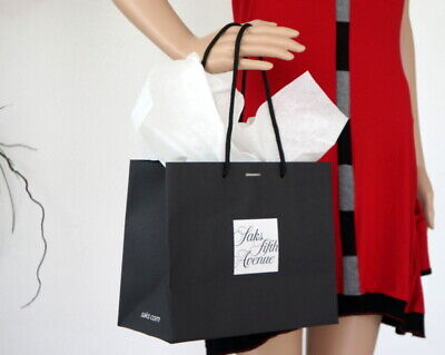 """SAKS FIFTH AVENUE Large Shopping Paper Tote Gift Bag 17/""""x17/"""" w//ribbon hole"""