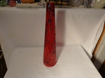 "Rare Loetz Style Art Glass Handblown Ruby Red Black Trailing Vines 15"" Vase - Nr"