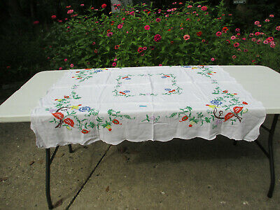 """Tablecloth Embroidered Flowers Bright Colors Orange Green Vintage 44"""" x 40"""""""