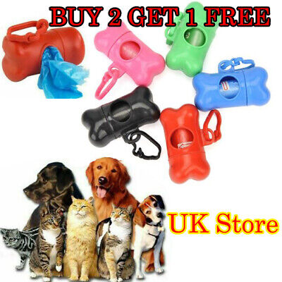 Bone Case Dog Poo Carrier Cat Waste Dispenser Poop Bags Pet Garbage Box Holder!