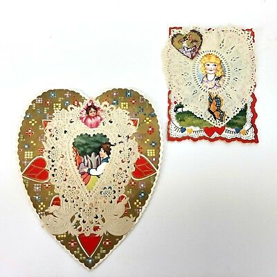 Valentines Card Beautiful Vtg Antique 1920s 30s Lot Paper Lace Whitney Made Old