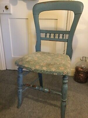 🎀 LOVELY Antique Balloon Back Dining Chair Shabby Chic Teal Aged Appearance 💙