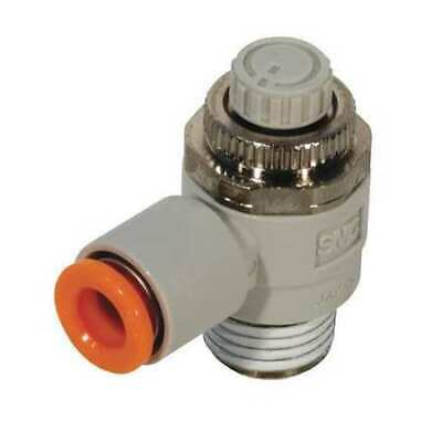 SMC Electroless Nickel-Plated Brass and PBT Elbow Flow Control Valve with 4mm Tube Size AS2211F-02-04SD, Pack of 2