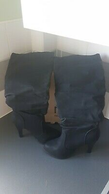 ** Worn Once ** Next Black Leather Calf Length Pull On Boots Uk Size 5