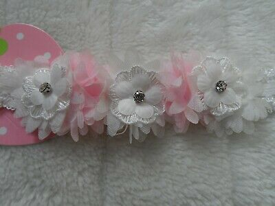 baby/girl white /pink headband hair garland flower bow various designs flowers