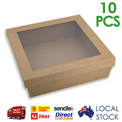 Brown Kraft Square Corrugated Cardboard Catering Trays/Boxes with Window Lids
