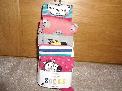 George Girls 5 Pairs Of Ankle Socks Size 12.5-3.5 (31-36.5)