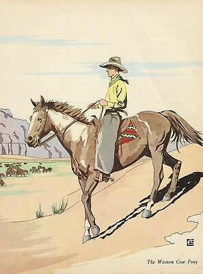 VINTAGE 1938 PINTO PAINT HORSE & COWBOY RIDING IN MOUNTAINS Art Print