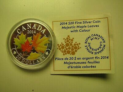 2014 Proof $20 Overlaid Majestic Maple Leaves #2 Colour Painted COIN&COA ONLY Ca