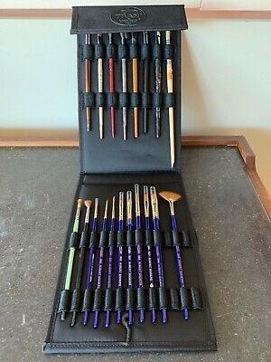 Lot ~Artist's Paint Brushes SABLE BLEND & others~case~ Robert Simmons Sapphire