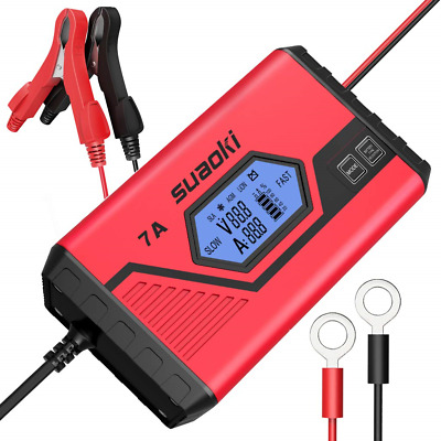 SUAOKI 7A Fast Car Battery Charger Maintainer Smart 9-Stage Automatic Charges,