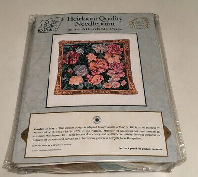 "Vintage Tapestry Kit ""Garden In May"" Cushion Front By Smithsonian Institute 1991"