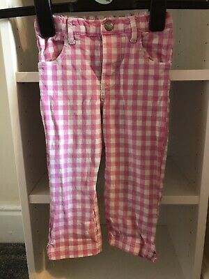 Girls Baby Boden Trousers, Checked, Pink, 2-3 Years