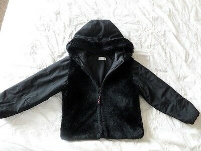 ADAMS Girls Black Hooded Front Faux Fur Jacket Size 6 Years