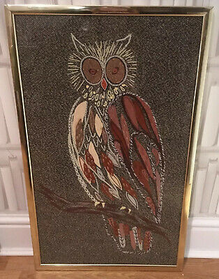 Amazing Large Vintage Mid Century Framed Owl Applique Embroidery