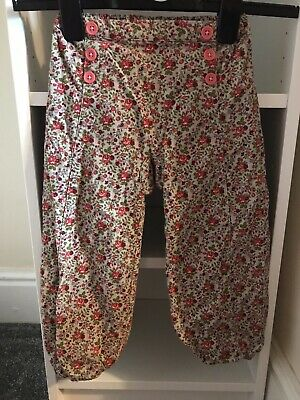 Girls Baby Boden Trousers, Floral, Green And Red, 2-3 Years