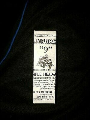 UNOPENED VINTAGE HUMPHREY'S No. 9 PILLS FOR SIMPLE HEADACHE