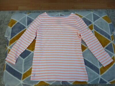 Girls Joules Long Sleeve Top White With Orange Stripes Colour Age 8 Years