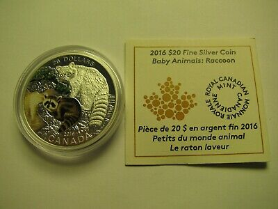 2016 Proof $20 Baby Animals #8-Raccoon COIN&COA ONLY Canada .9999 silver twenty
