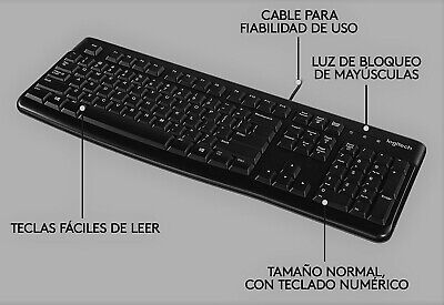 Teclado Logitech K120 Español Negro con Cable USB QWERTY Letra Ñ Plug and Play