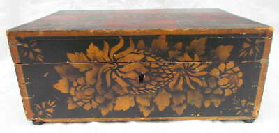 Antique 19th C American Decorated Wooden Travel Writing Box Identified Owner
