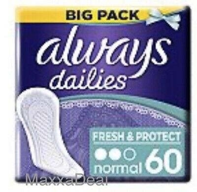 2x Always Dailies Fresh & Protect Panty Liners Normal 60 (120)