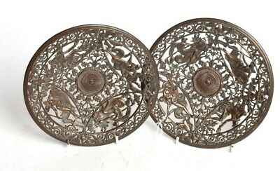 19TH Century Antique  COALBROOKDALE  Cast Iron Plates Pair  CIRCA 1880 original