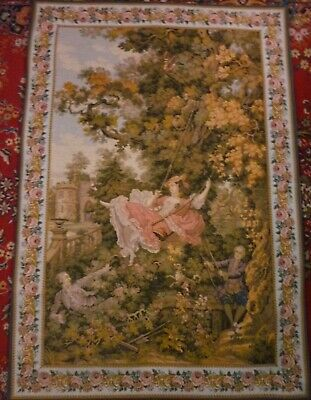 """Delightful, Romantic Large French """"Gobelins"""" Vintage Wall Hanging / Tapestry"""