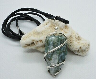 Green Tree Agate Crystal Natural Gemstone Pendant Necklace Protective Talisman