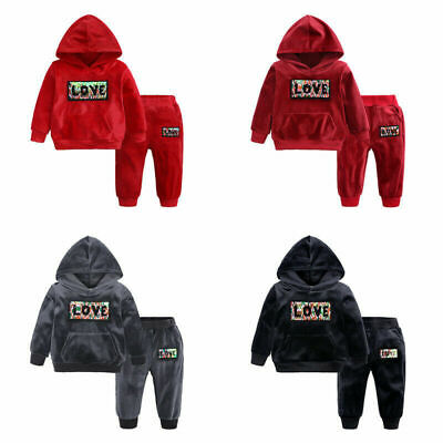 Kids Boys Girls Long Sleeve Set Pants Top Hoodie Tracksuit Sets 2 3 4 5 6 7 yrs