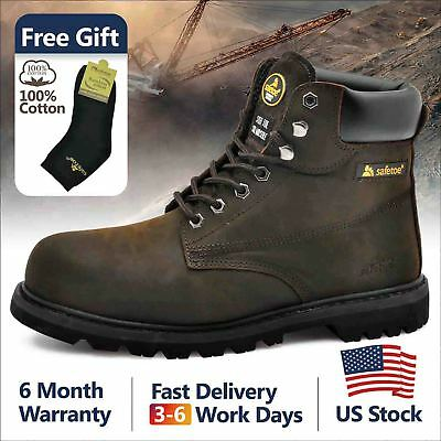 Safetoe Safety Boots Mens Work Shoes Steel Toe Cow Leather Rubber Sole US Stock